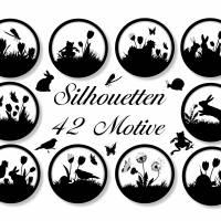 Cabochon-Vorlagen Frühlings-Silhouetten, 42 Motive zum Ausdrucken Bild 1