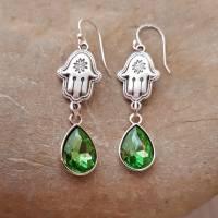 Ohrringe Boho Silber / versilbert Fatimas Hand Tropfen grün Hamsa Ohrhänger Geschenk Muttertag Freundin Bild 1