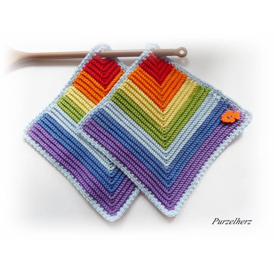 1 Paar gehäkelte Topflappen Regenbogen,Fisch - Potholder,Küchenhelfer,Geschenk,Hauseinweihung,Muttertag  Bild 1