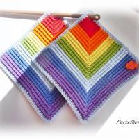 1 Paar gehäkelte Topflappen Regenbogen,Fisch - Potholder,Küchenhelfer,Geschenk,Hauseinweihung,Muttertag  Bild 2