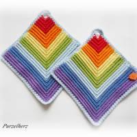 1 Paar gehäkelte Topflappen Regenbogen,Fisch - Potholder,Küchenhelfer,Geschenk,Hauseinweihung,Muttertag  Bild 3