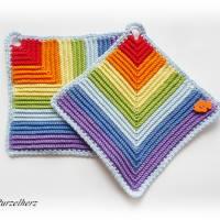 1 Paar gehäkelte Topflappen Regenbogen,Fisch - Potholder,Küchenhelfer,Geschenk,Hauseinweihung,Muttertag  Bild 5