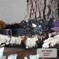 Haarband Margerite, längenverstellbar aus Baumwolle mit vielen kleinen Perlen mit breitem Gummiband Bild 1