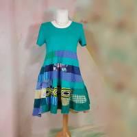 Kleid 46 - 48 türkis blau Kurzarm Midikleid XL XXL Baumwolle A32 Übergröße Hippie Boho Patchwork Unikat Sommer Bild 1