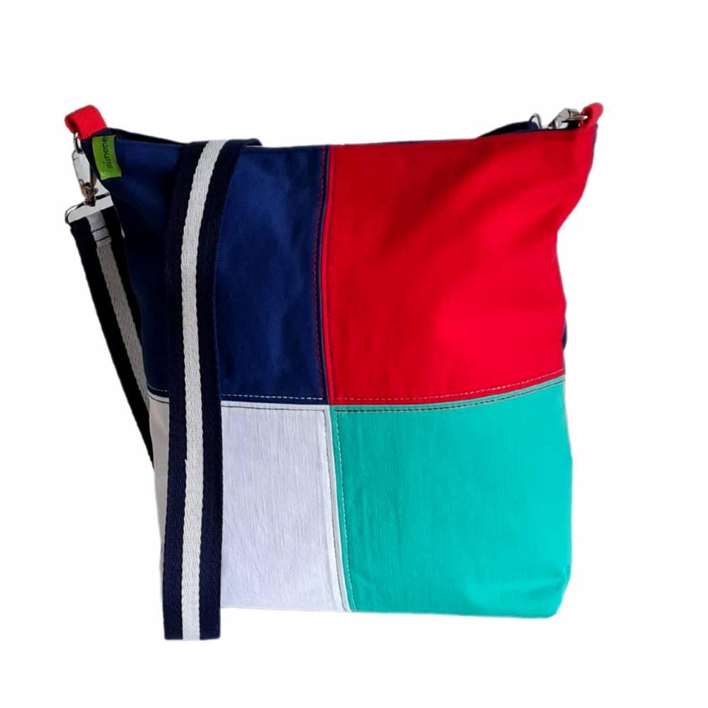"""Umhängetasche """"Color"""" , tolles Upcycling in vier Farben, Schultertasche, Beuteltasche, Body-Bag, Jeanstasche, Pa Bild 1"""