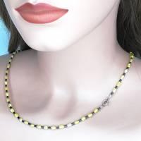 gelb-anthrazit farbige Halskette, Hämatit mit Mabé-Perlen, zartes Halscollier 46 cm Bild 2