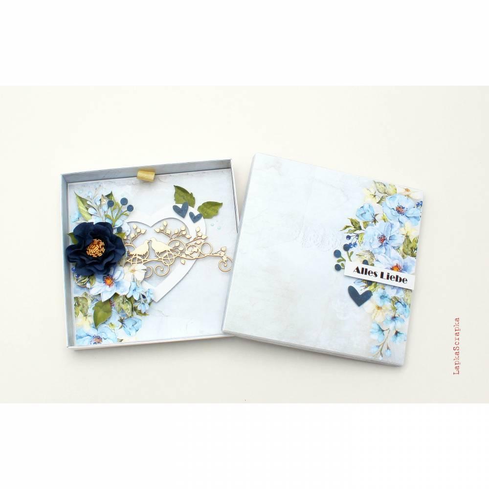 Hochzeitskarte mit Schachtel, Hochzeitskarte, Hochzeitsgeschenk, Glückwunschkarte, Geldgeschenk Hochzeit, handgemacht Bild 1
