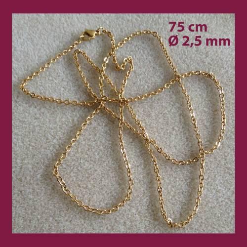 Edelstahl GLIEDERKETTE 75 cm, goldfarben, mit Karabinerverschluss, Durchm. 2,5 mm