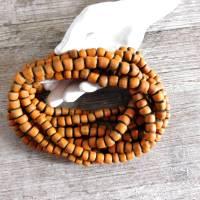 kleine handgemachte Glasperlen, Java - Orange auf Schwarz - ca. 6mm - ca. 110 Stück/Strang - indo-pazifische Perlen Bild 1