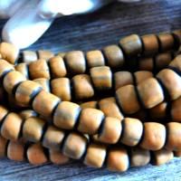 kleine handgemachte Glasperlen, Java - Orange auf Schwarz - ca. 6mm - ca. 110 Stück/Strang - indo-pazifische Perlen Bild 2