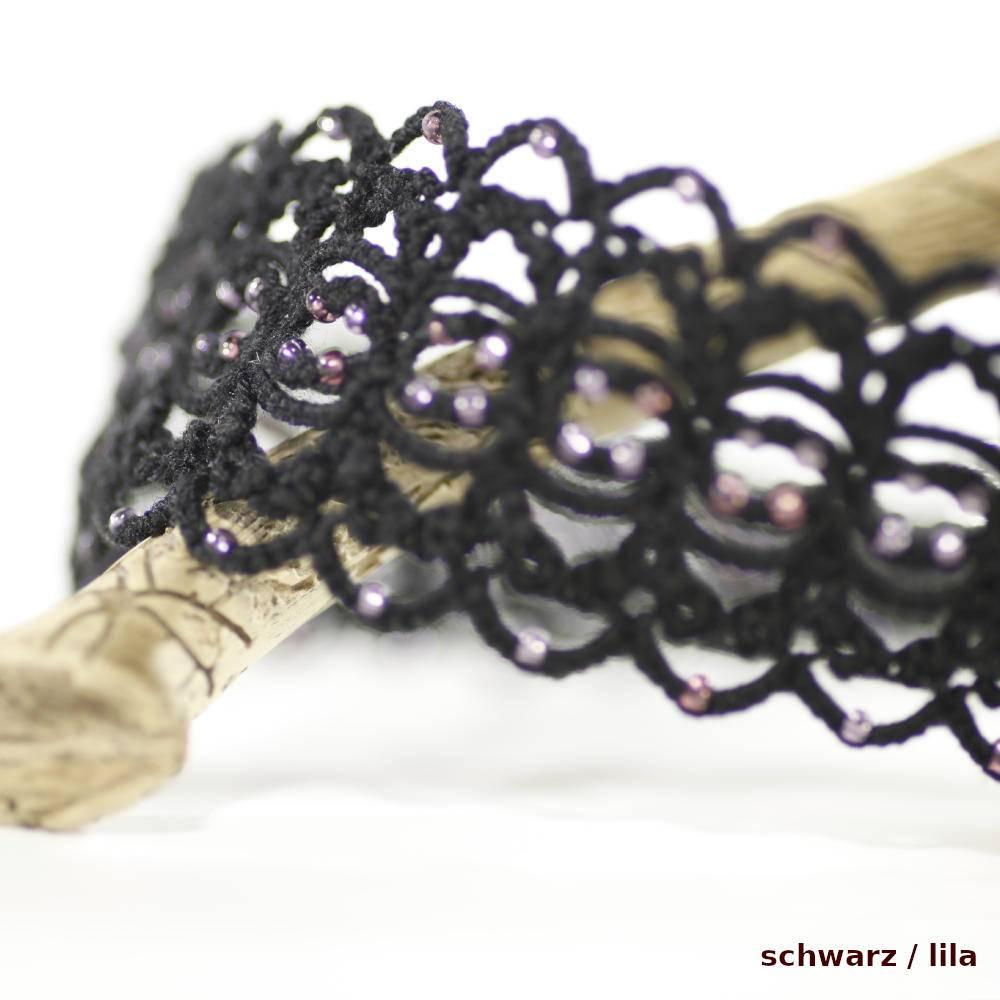Haarband DeLuxe aus Baumwolle mit vielen kleinen Perlen breitem Gummi längenverstellbar Bild 1
