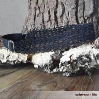 Haarband DeLuxe aus Baumwolle mit vielen kleinen Perlen breitem Gummi längenverstellbar Bild 4