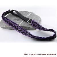Haarband DeLuxe aus Baumwolle mit vielen kleinen Perlen breitem Gummi längenverstellbar Bild 5