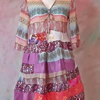 Kleid 44 - 46 Sommerkleid bunt Ethno Hippie rosa pink Chiffon T42 Boho mint pastell Patchwork Upcycling Recycling Damen  Bild 1
