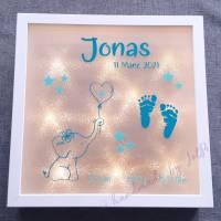"""Geschenk zur Geburt / Leuchtrahmen, Leuchtbild, beleuchteter Bilderrahmen """"kleiner Elefant"""" Bild 1"""