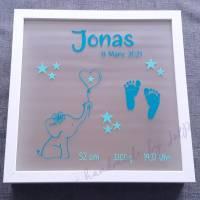 """Geschenk zur Geburt / Leuchtrahmen, Leuchtbild, beleuchteter Bilderrahmen """"kleiner Elefant"""" Bild 2"""