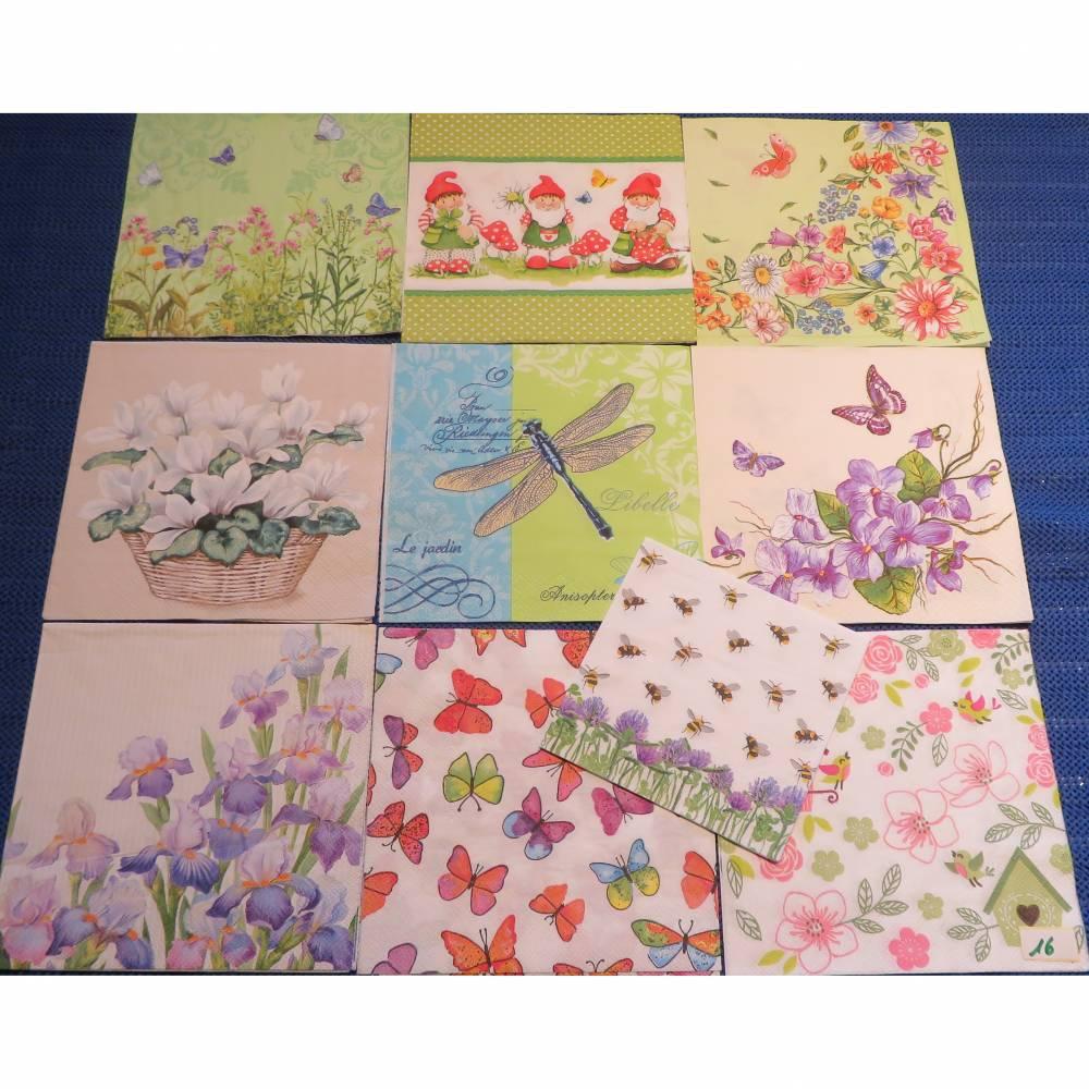 10 Servietten / Motivservietten  Frühling / Blumen / Tiere Mix 16 Bild 1