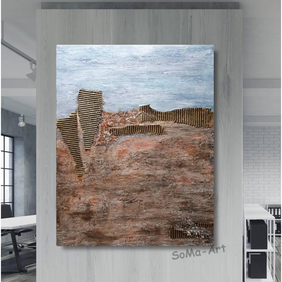 Abstraktes Landschaftbild in Acrylfarben mit tiefer Struktur in Erdtönen, Wandbild, Wohnraumdekoration Bild 1