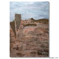 Abstraktes Landschaftbild in Acrylfarben mit tiefer Struktur in Erdtönen, Wandbild, Wohnraumdekoration Bild 2