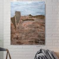 Abstraktes Landschaftbild in Acrylfarben mit tiefer Struktur in Erdtönen, Wandbild, Wohnraumdekoration Bild 3