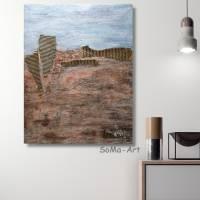 Abstraktes Landschaftbild in Acrylfarben mit tiefer Struktur in Erdtönen, Wandbild, Wohnraumdekoration Bild 4