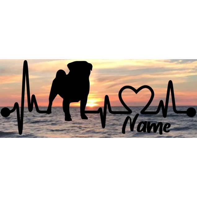Aufkleber Herzlinie Heartbeat Hund Mops Bild 1