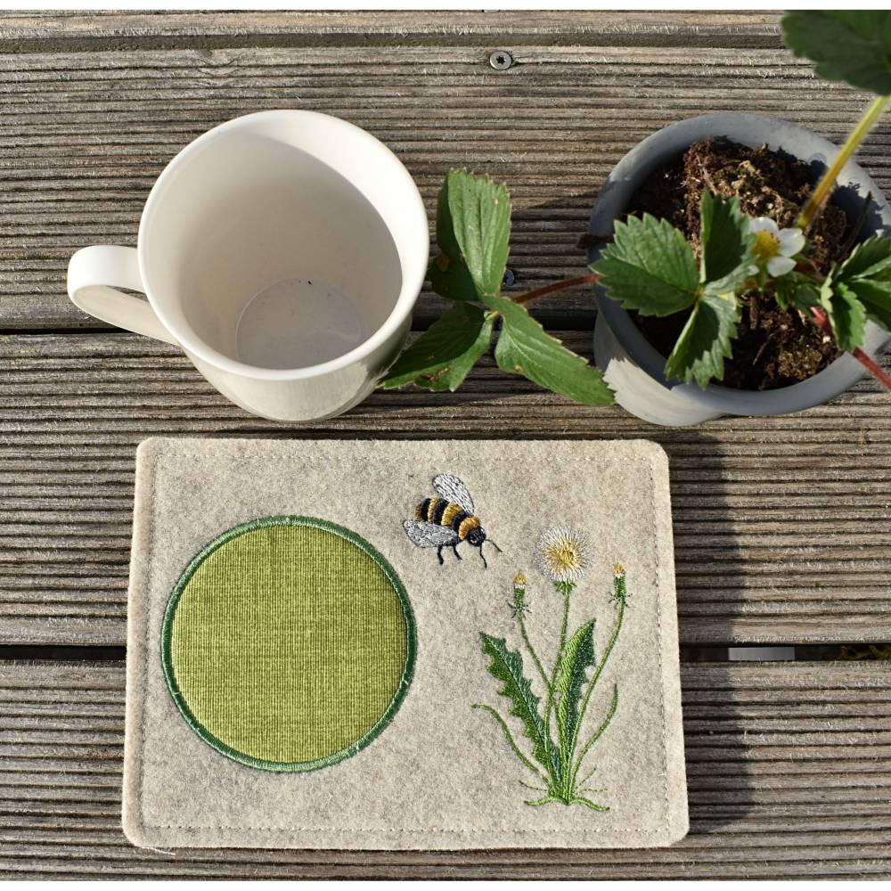 MugRug - Tassenteppich - Tassenplatz - Wollfilz - beige meliert - Bienen Bild 1