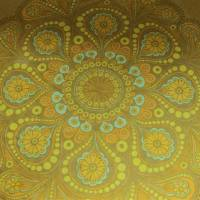 runde RetroTischdecke gelbes Mandala Bild 1