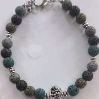 Armband für Männer aus Lavaperlen mit tibetischen Elefant silber Bild 1