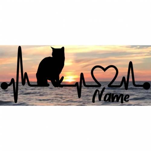 Aufkleber Herzlinie Heartbeat Katze 3