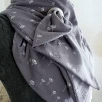 XXL Dreiecktuch  / Musselin Double Gauze / Grau mit weißen Gänseblümchen / Schaltuch / Halstuch/ Wickelschal/ Loop Bild 5