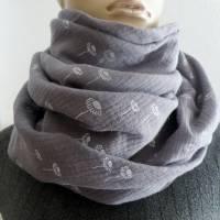 XXL Dreiecktuch  / Musselin Double Gauze / Grau mit weißen Gänseblümchen / Schaltuch / Halstuch/ Wickelschal/ Loop Bild 7