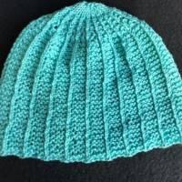 Handgestrickte Babymütze türkis - 100 % Baumwolle für Jungen und Mädchen Bild 1