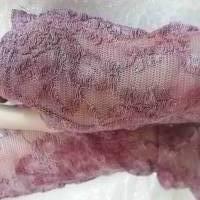 zarte rosa Batik-Spitzen-Stulpen aus hochwertiger Seiden-Baumwollspitze, handgefärbt  Bild 1
