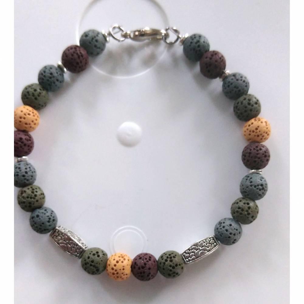 Armband für Männer aus Lavaperlen Natur  Bild 1