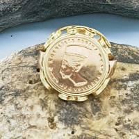 Vintage, Münzring, Fingerring, Nofretete Regina 585 Gold 14 Karat Bild 1