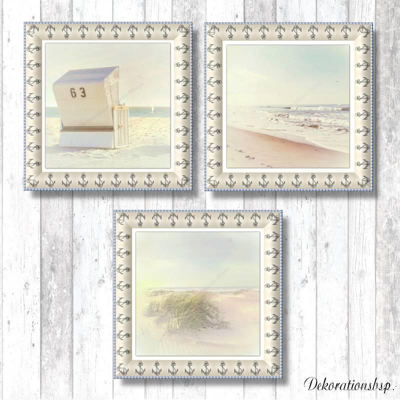 STRANDSICHTEN Maritimes Bild Triptychon auf Holz Leinwand Print Wanddeko Landhausstil VintageStyle Retro handmade kaufen Bild 1