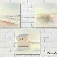 STRANDSICHTEN Maritimes Bild Triptychon auf Holz Leinwand Print Wanddeko Landhausstil VintageStyle Retro handmade kaufen Bild 2