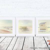 STRANDSICHTEN Maritimes Bild Triptychon auf Holz Leinwand Print Wanddeko Landhausstil VintageStyle Retro handmade kaufen Bild 4