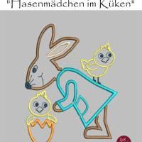 """Stickdatei """"Hasenmädchen mit Küken"""" FREEBIE Bild 1"""