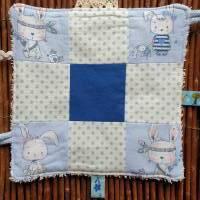 """Baby Knistertuch mit Beißring Schmusetuch Patchwork hellblau ca. 18x18cm """"Häschen"""" Bild 2"""
