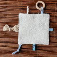 """Baby Knistertuch mit Beißring Schmusetuch Patchwork hellblau ca. 18x18cm """"Häschen"""" Bild 4"""