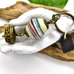 Schlüsselanhänger -handgemachte Pulverglasperle + Schatzkästchen - bronze - 9cm Bild 3