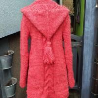 Strickmantel aus Islandwolle im Mustermix und Kapuze***S/M hummer Bild 2