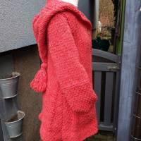 Strickmantel aus Islandwolle im Mustermix und Kapuze***S/M hummer Bild 4