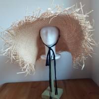 Strohhut breitkrempig mit Fransen und Bindebändern Bild 3