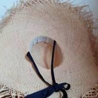 Strohhut breitkrempig mit Fransen und Bindebändern Bild 5