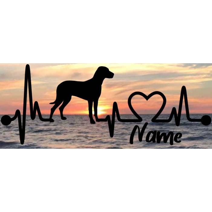 Aufkleber Herzlinie Heartbeat Hund Rhodesian Ridgeback Bild 1
