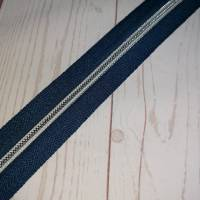 2m Endlosreissverschluss 5mm dunkelblau / silber Bild 1