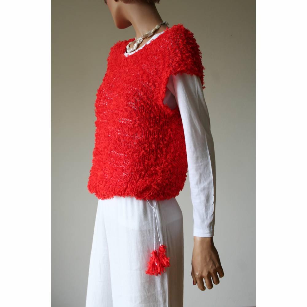 Sommerlicher Pulli aus Baumwolle in Rot, gestricktes Sommer-Top, Grobstrick Pullunder, Größe S-M Bild 1